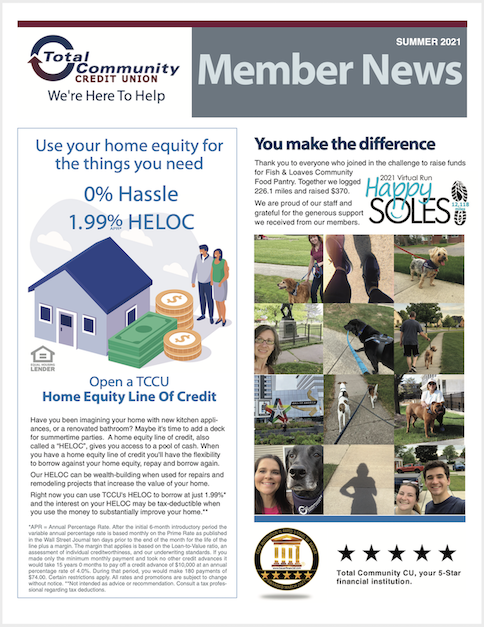 second quarter 2021 Member Newsletter page one