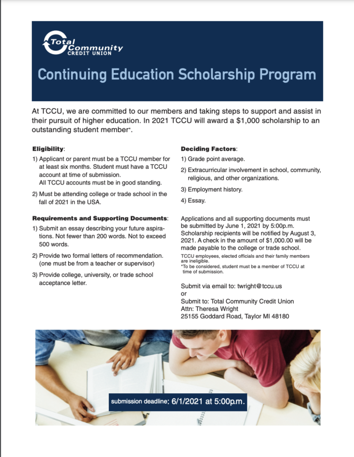 front cover, scholarship application