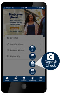 phone screen, location for mobile check deposit function